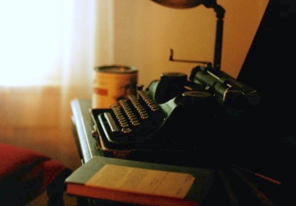 William Faulkner's typewriter, displayed at his home in Oxford, Mississippi; photo by Gary Bridgman