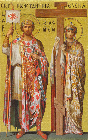 Emperor Constantine and Empress Helena. Mosaic in Saint Isaac's Cathedral, St. Petersburg, Russia
