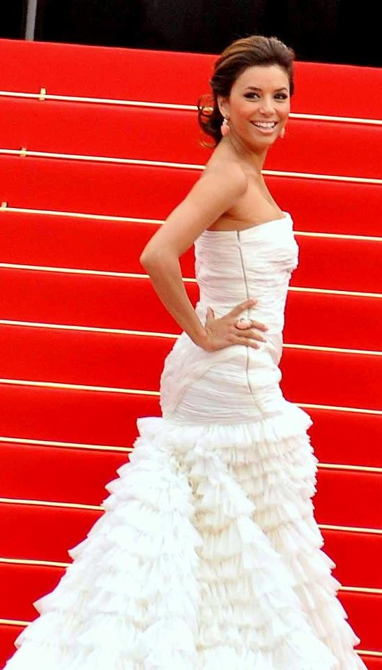 Eva Longoria Cannes white dress 599 Fashion