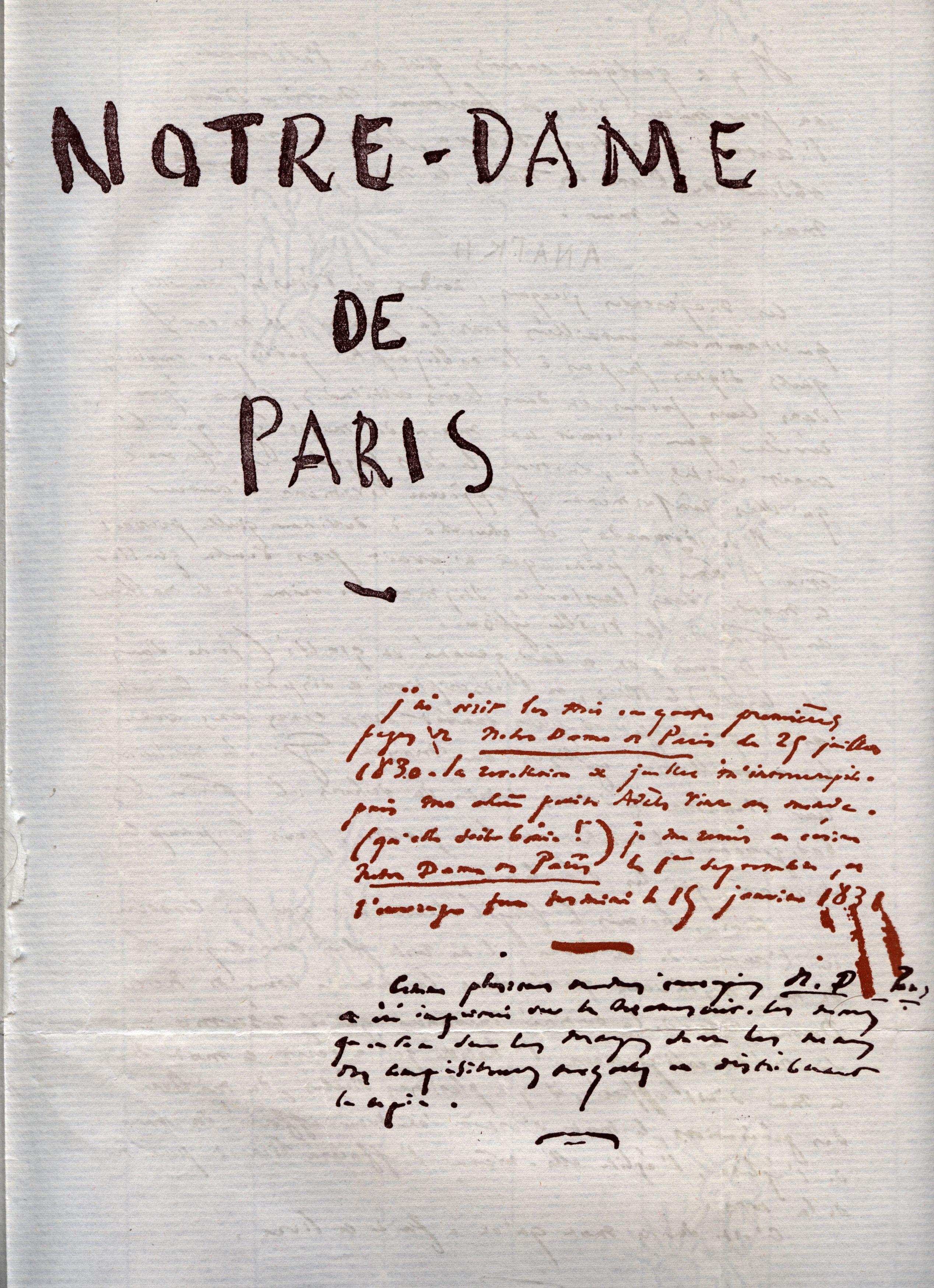 Notre-dame De Paris Victor Hugo : notre-dame, paris, victor, File:Notre, Paris, Victor, Manuscrit, 1.jpg, Wikimedia, Commons