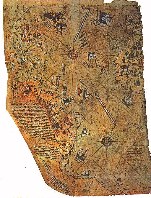 Fragmento del mapa de Piri Reis