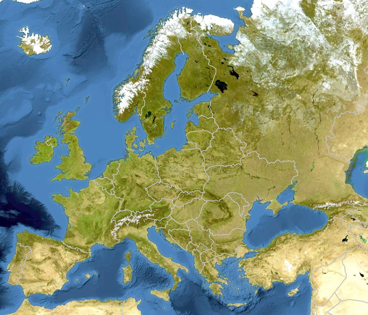 Imagen vía satélite del continente europeo, donde se encuentra la mayor parte del territorio de la Unión Europea.