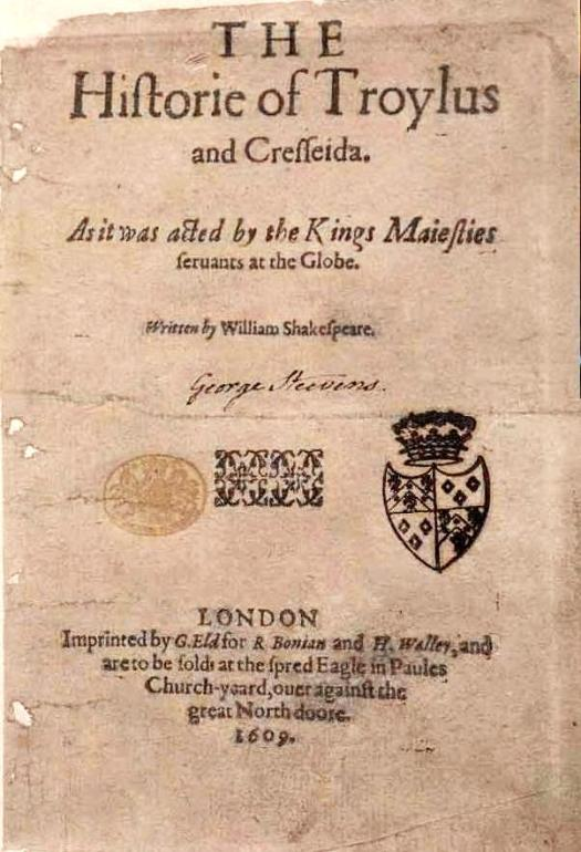 Wikipedia: The historie of Troylus and Cresseida. 1609 title page