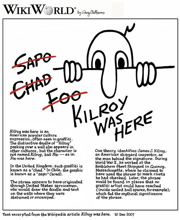 Greg Williams cartoon on the Wikipedia entry for Kilroy
