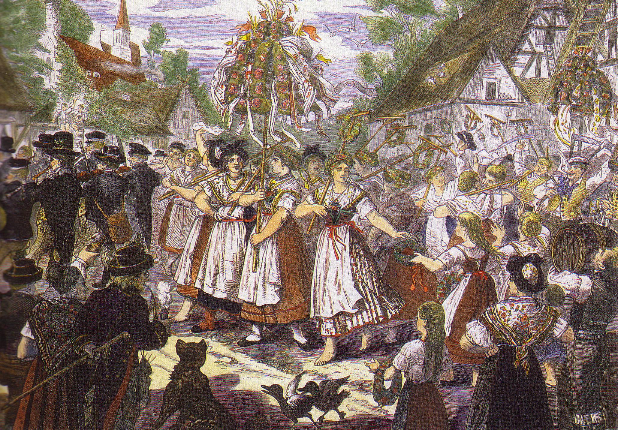 Painting of Czech Harvest Festival celebrants