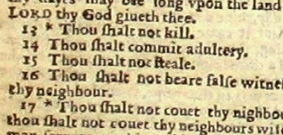 A section of a page from the Wicked Bible of 1...