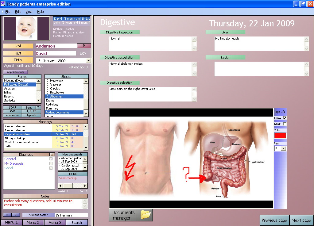 An electronic medical record example