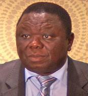 Morgan Tsvangirai, speaking to reporters in Jo...