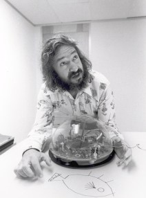 Dr. Seymour Papert with a Logo Turtle