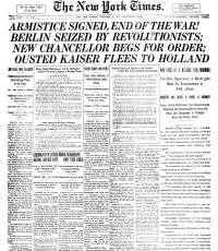 Newspaper with headline of Armistice