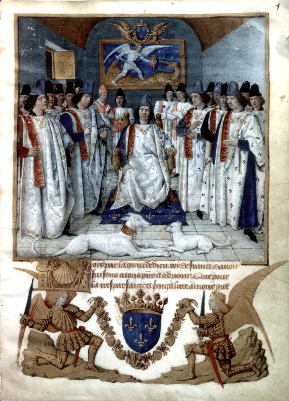 Louis de XI., rechts sein Bruder Charles und Antoine de Chabannes mit dem Stab des Grand maître, von Jean Fouquet, Public Domain