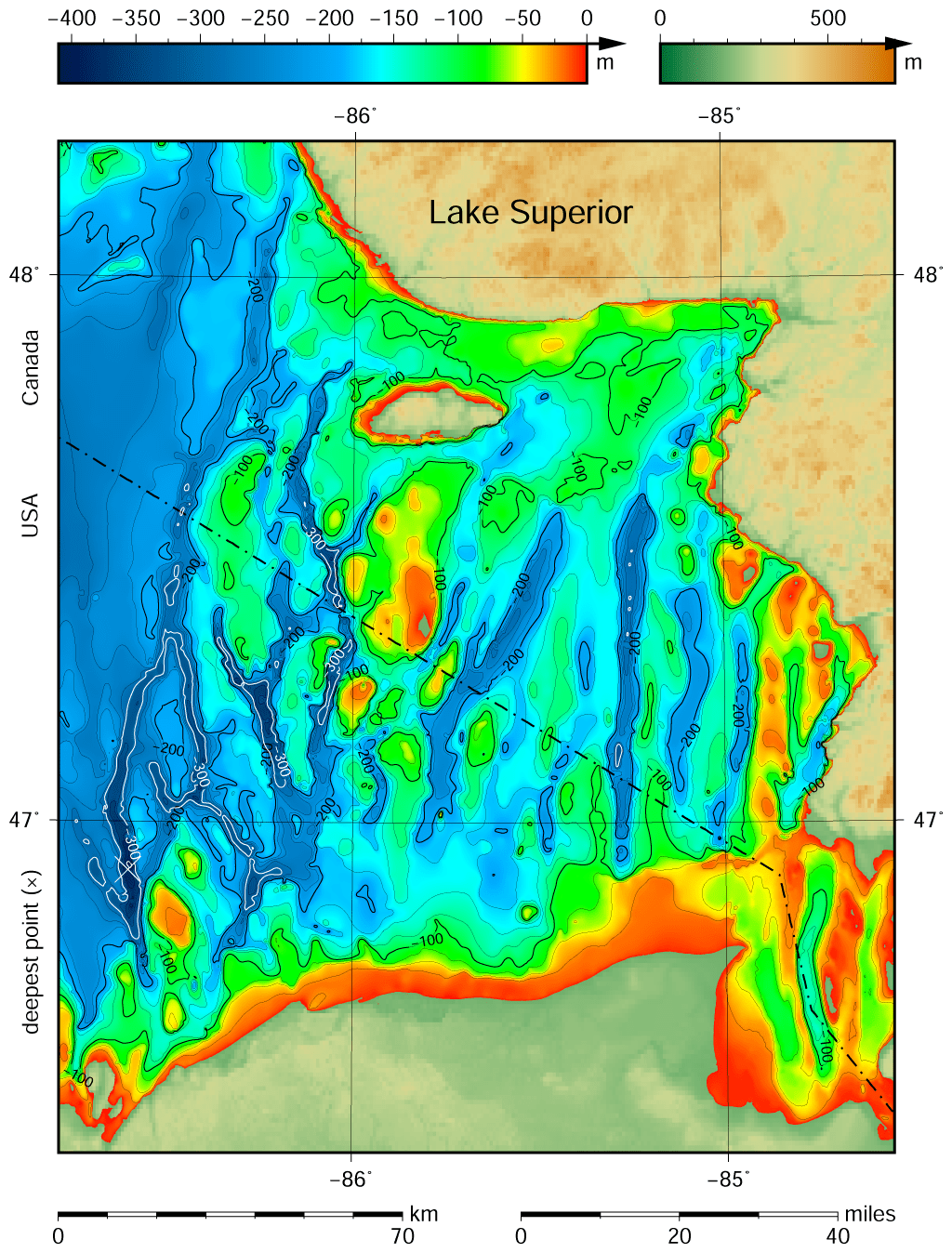 File Lake Superior Bathymetry Map Deepest Point Trenches