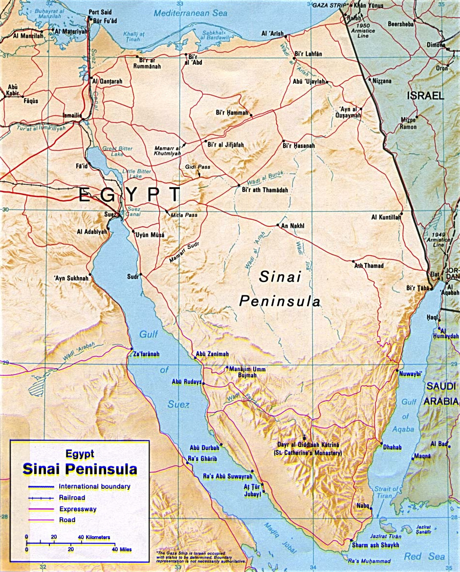 Map of the Sinai Peninsula, from the US Central Intelligence Agency (CIA)