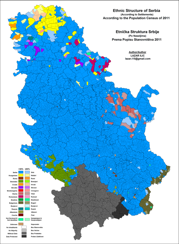 Ethnic map of Serbia 880 x 1000 MapPorn