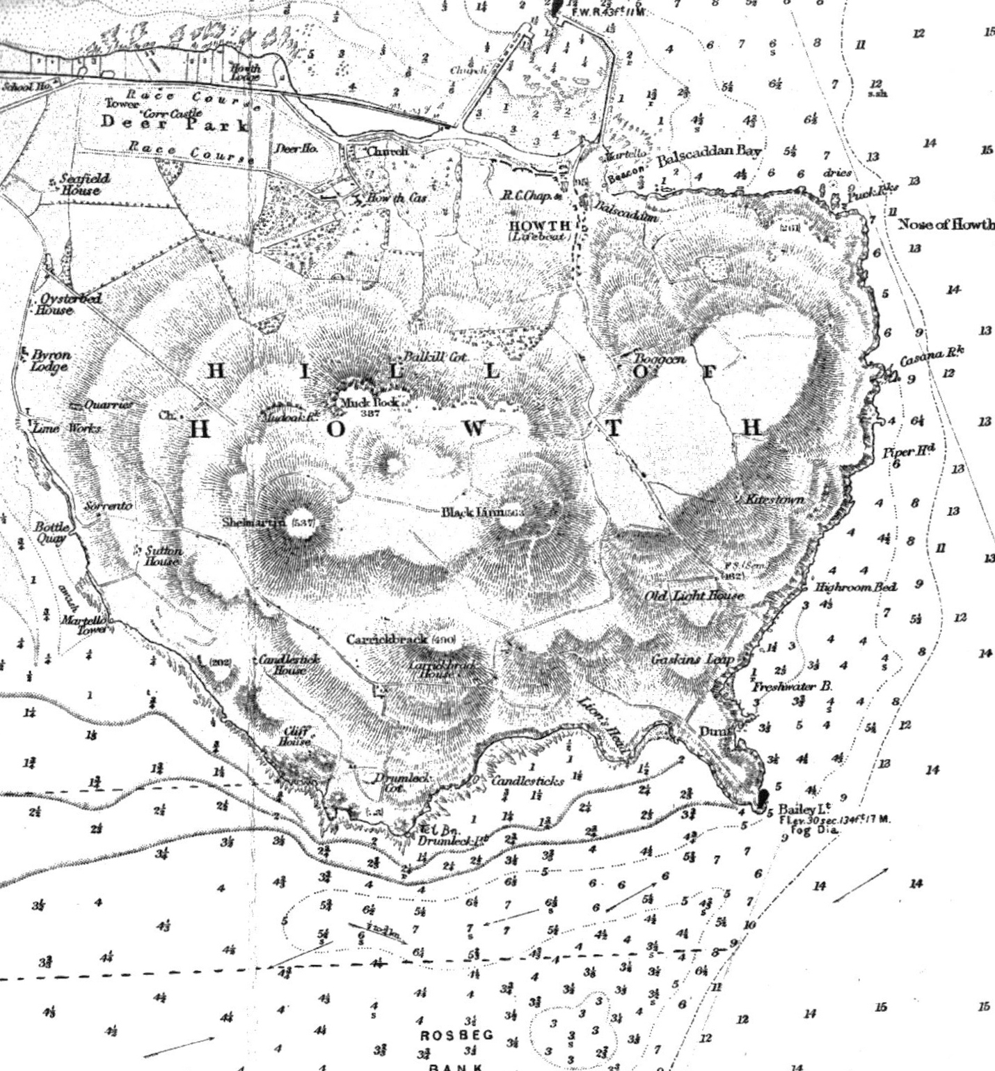 File:Howth Head by Dublin, (UK) Admiralty Chart of 1875