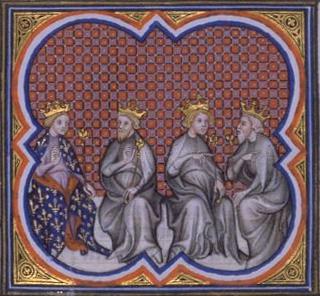 Teilung von Frankreich durch die 4 Söhne von Clovis (Chlodwig), aus den Grandes Chroniques de France, 14. Jahrhundert, public domain/gemeinfrei