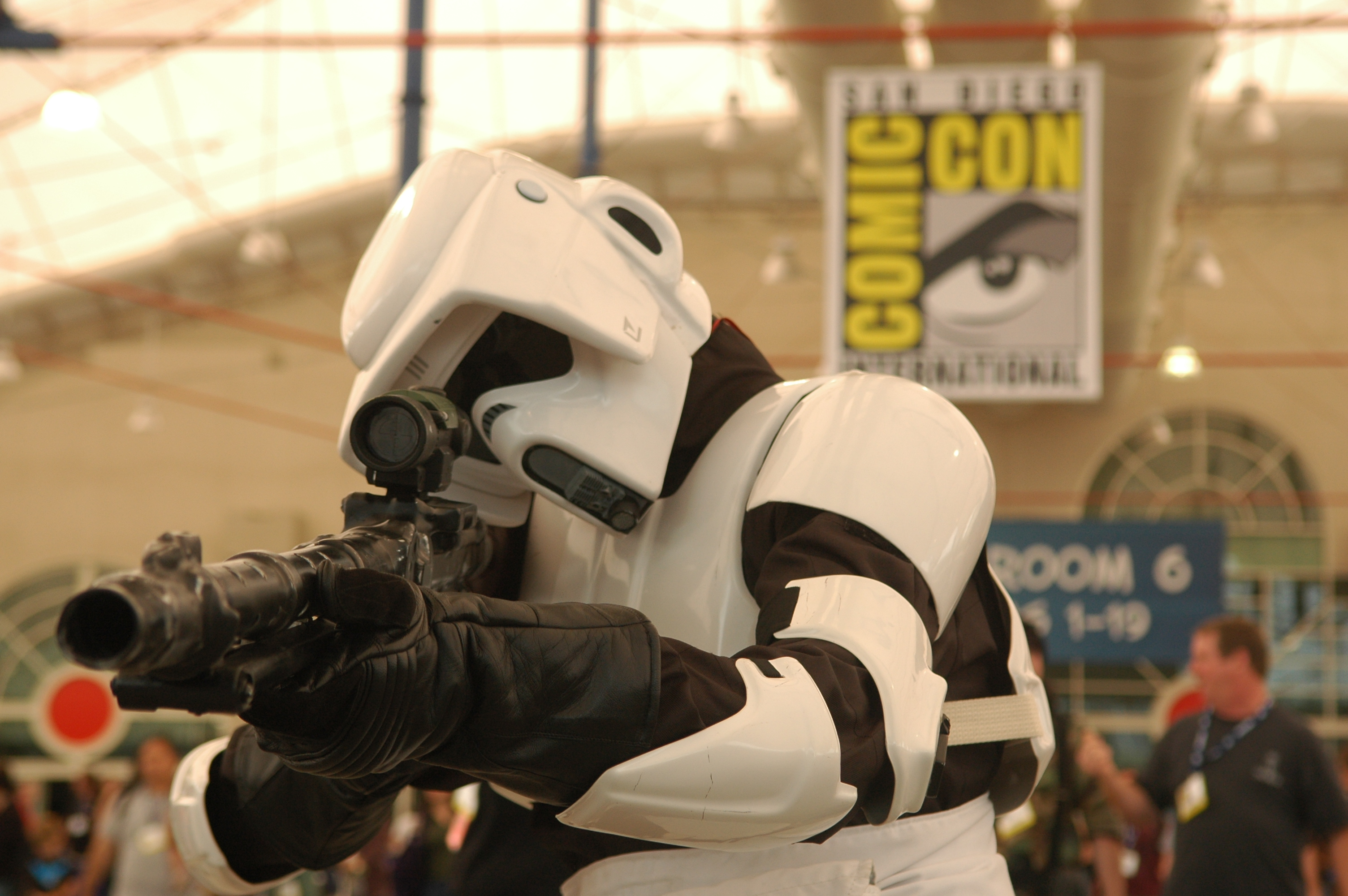 Photo of a Storm Trooper taking aim