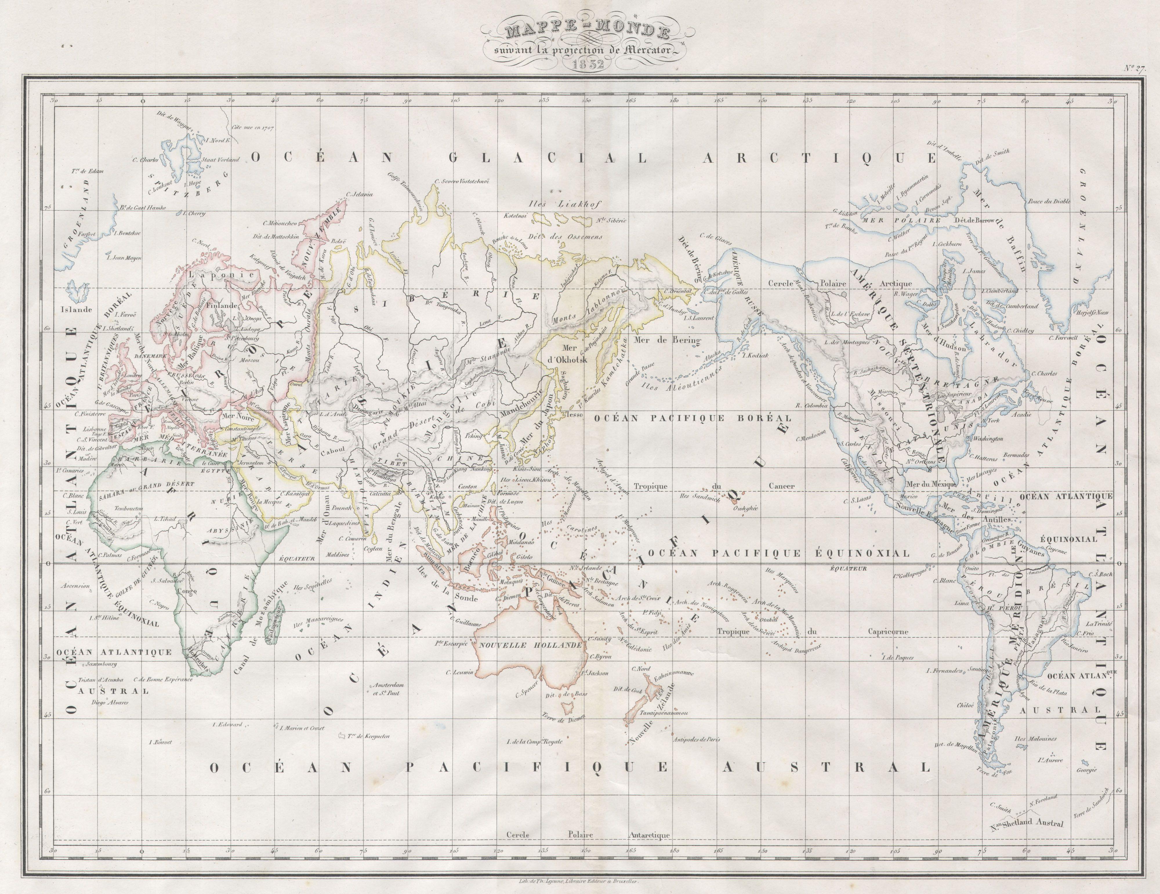 1832 Malte Brun Map of the World on Mercator Projection, via wikipedia