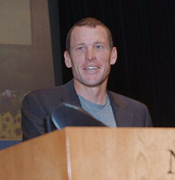 Cyclist Lance Armstrong visiting the NIH (Nati...