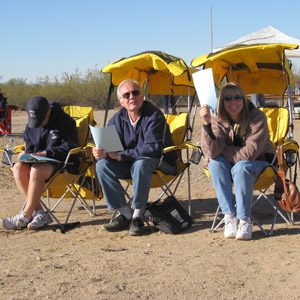 English: Judging team at an aerobatic competit...