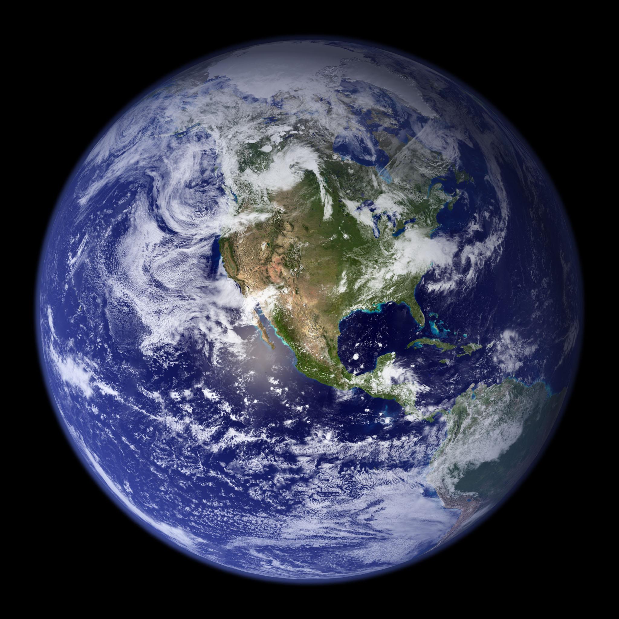 Western hemisphere of globe