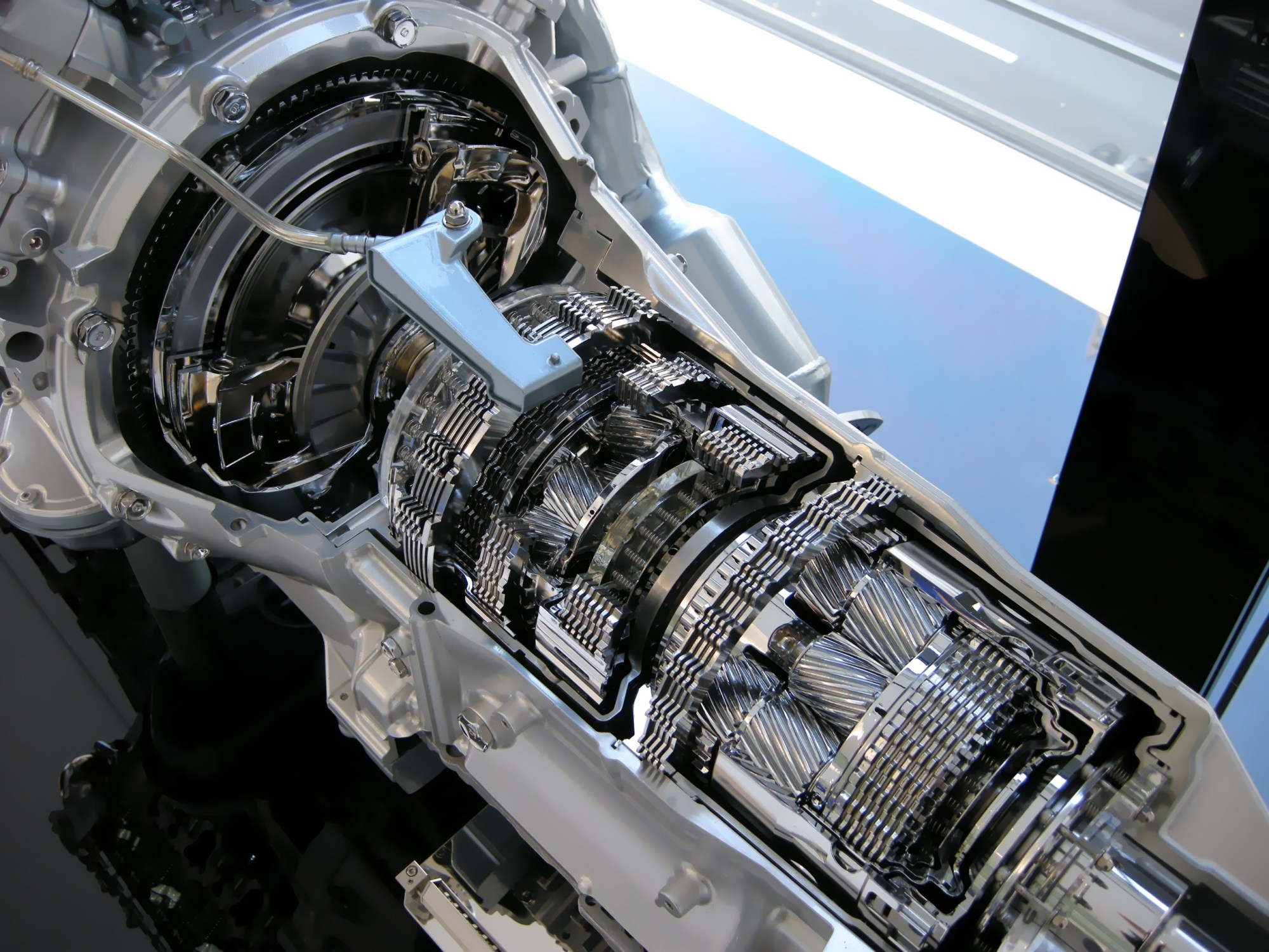 hight resolution of cutaway car transmission with exposed gears and internal machinery