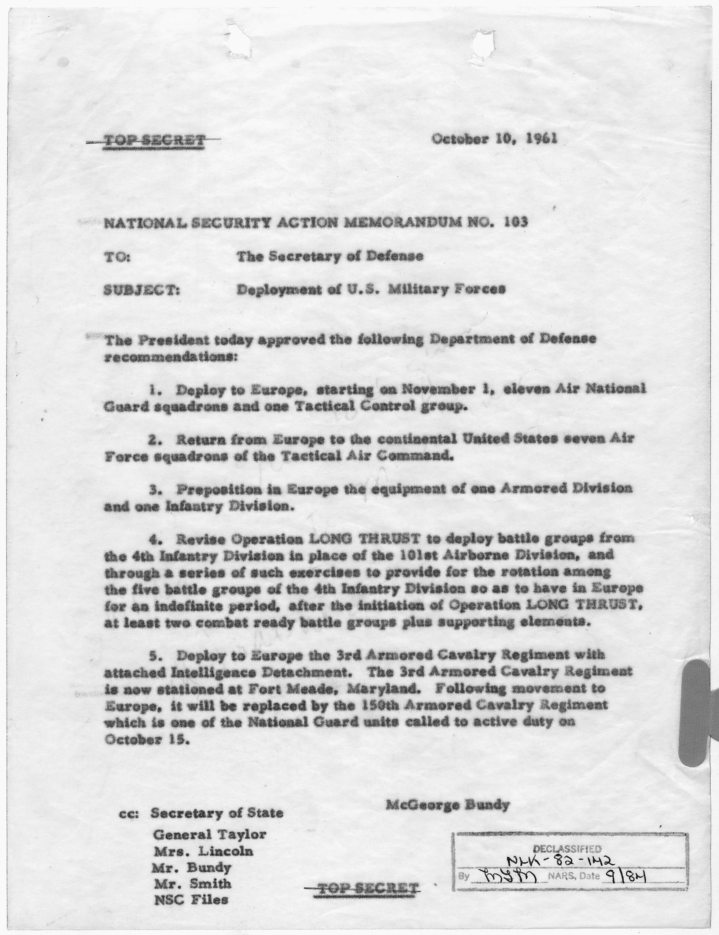 File National Security Action Memorandum No 103
