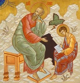 Deutsch: Evangelist Johannes und Prochorus. Po...