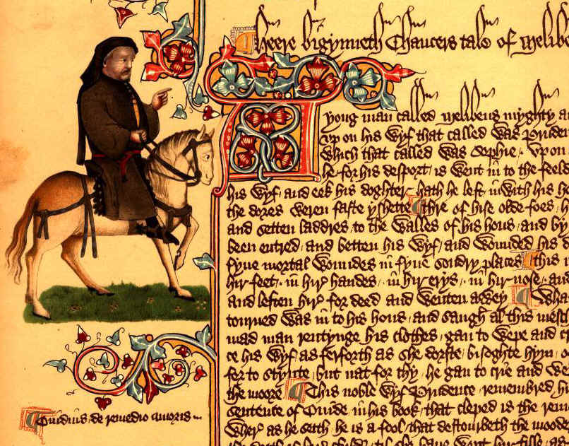 Portrait of Pilgrim Chaucer next to the Tale of Malibee