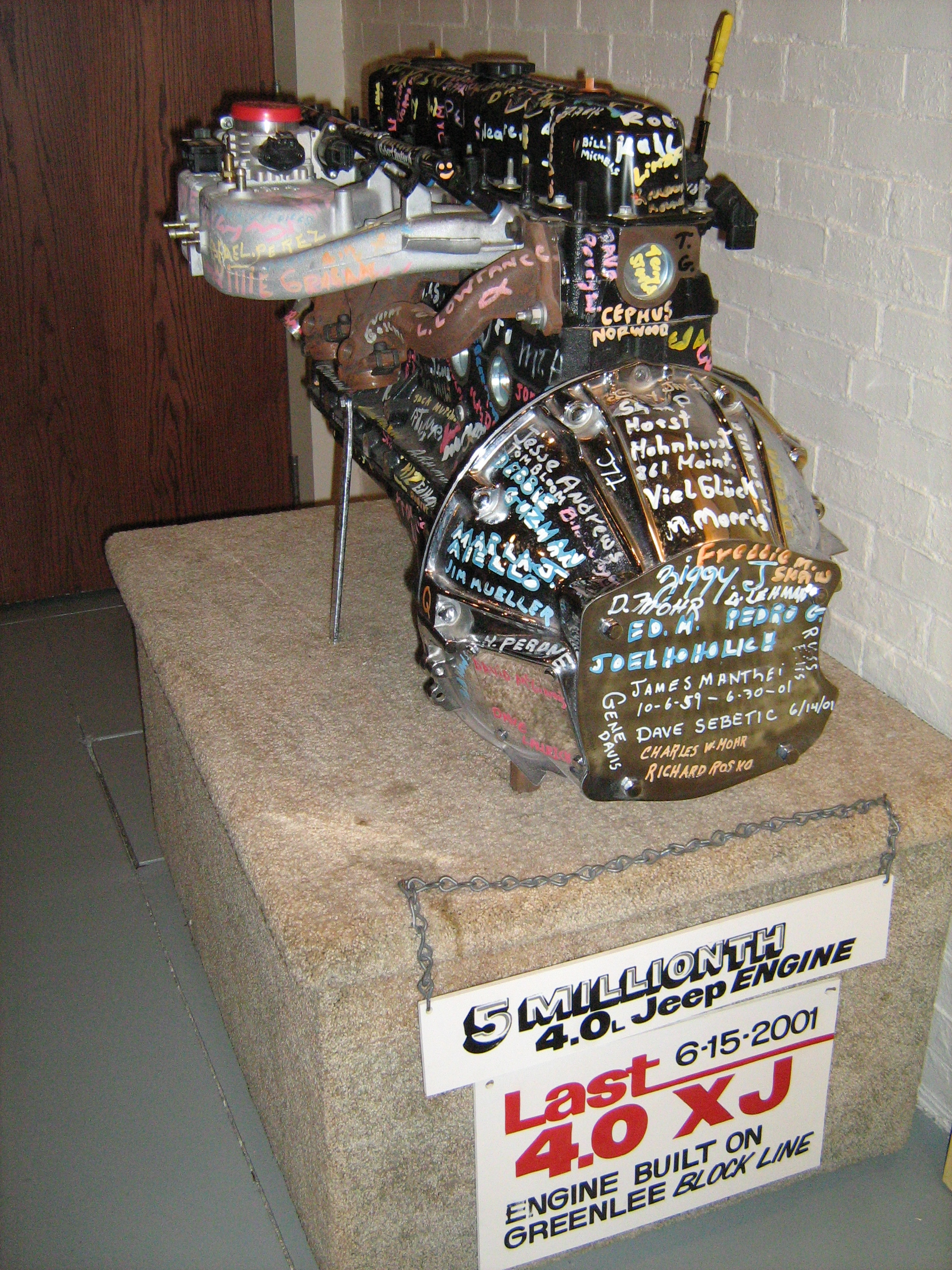 hight resolution of 4 0l jeep engine signed by workers at the