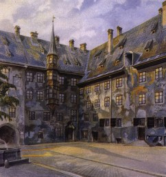 the alter hof in munich watercolour by adolf hitler 1914 [ 1092 x 813 Pixel ]