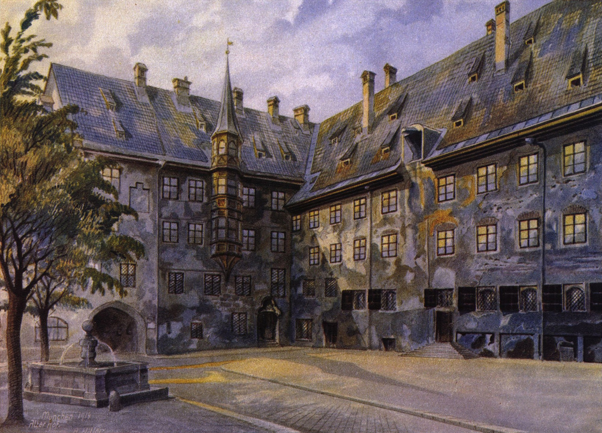 hight resolution of the alter hof in munich watercolour by adolf hitler 1914