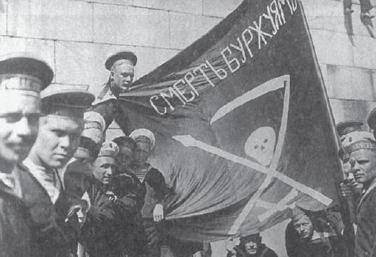 """Revolutionary Kronstadt sailors with the flag of """"Death to the bourgeoisie."""""""