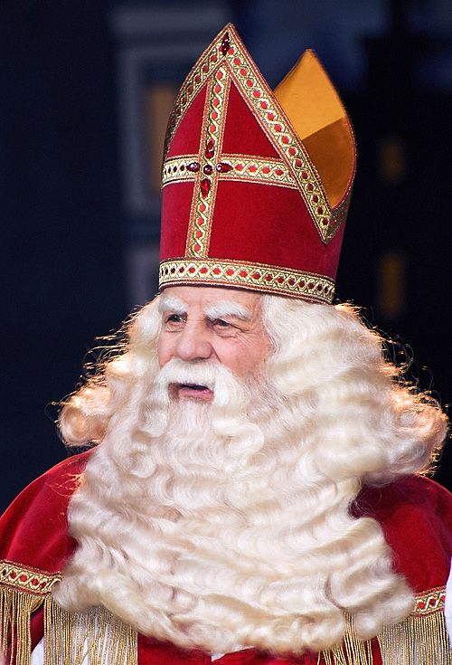 Sinterklaas.  Looks different from the other red-suited dude, doesnt he?