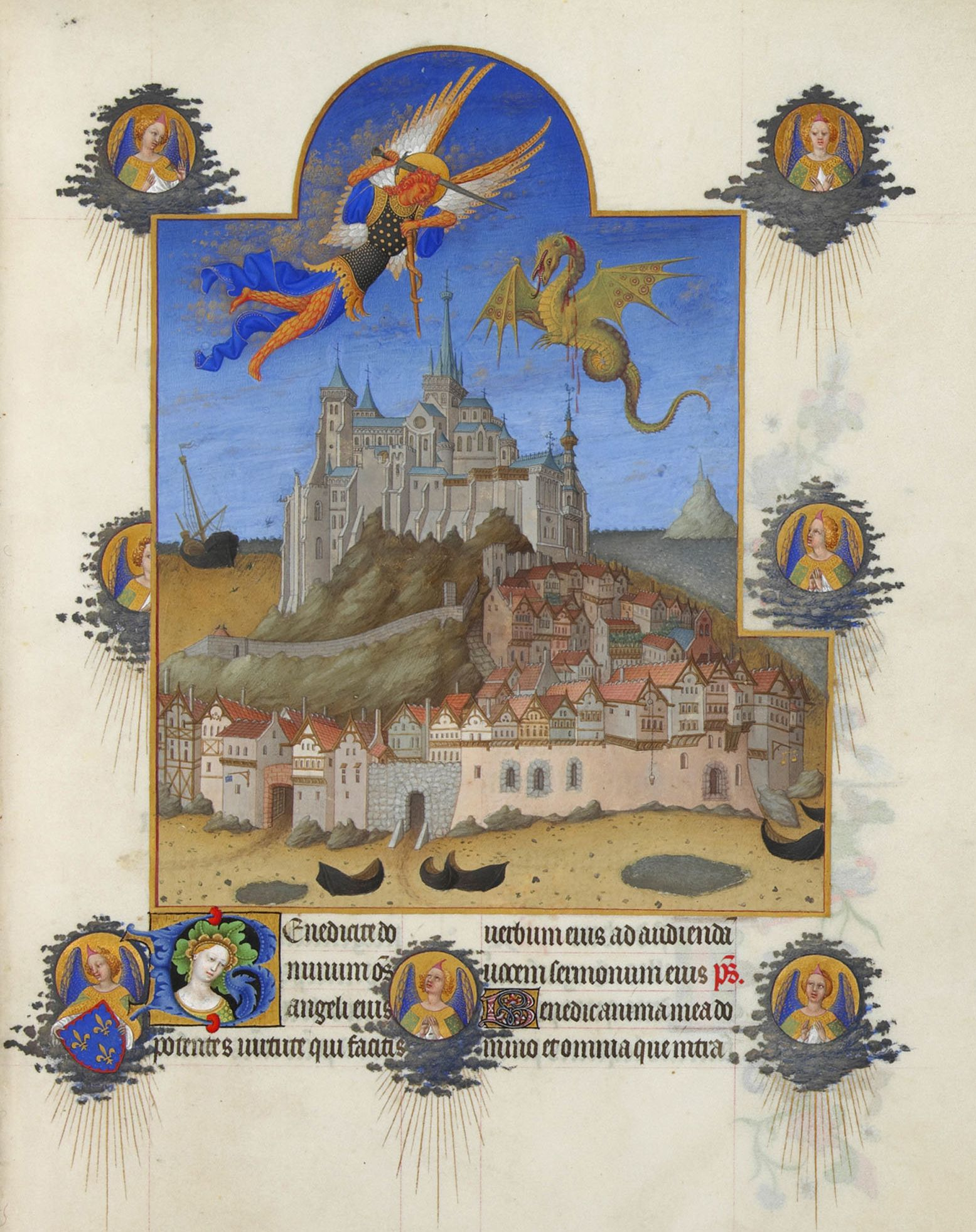 Battle of the Archangel Michael and the dragon. Thumbnail of the Magnificent Book of Hours Duc de Berry.