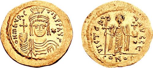 Sólido bizantino del reinado de Mauricio.