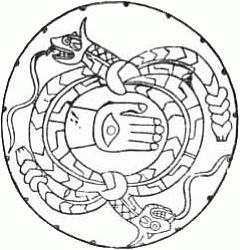 Sandstone disk found at Carthage, Alabama. Hor...