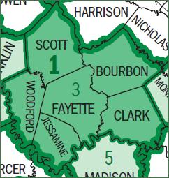 U.S. Census Bureau map of the Lexington-Fayett...