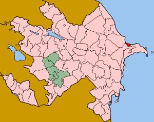 Map of Azerbaijan showing Sumqayit sahar Polsk...