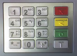 An NCR ATM PIN pad with German markings