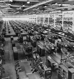 the assembly plant of the bell aircraft corporation in 1944 note parts of overhead crane at both sides of photo near top  [ 4345 x 3498 Pixel ]