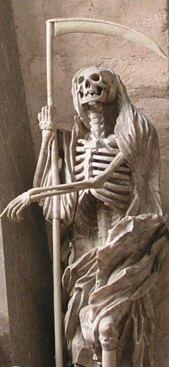 Statue of a skeleton as the Grim Reaper (Trier Cathedral, German, c. thirteenth century; photo by Jbuzzbee, used through a Creative Commons license)