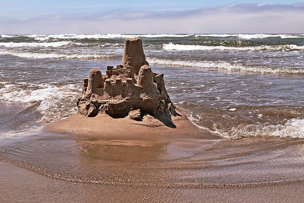 A sand castle at Cannon Beach, Oregon.