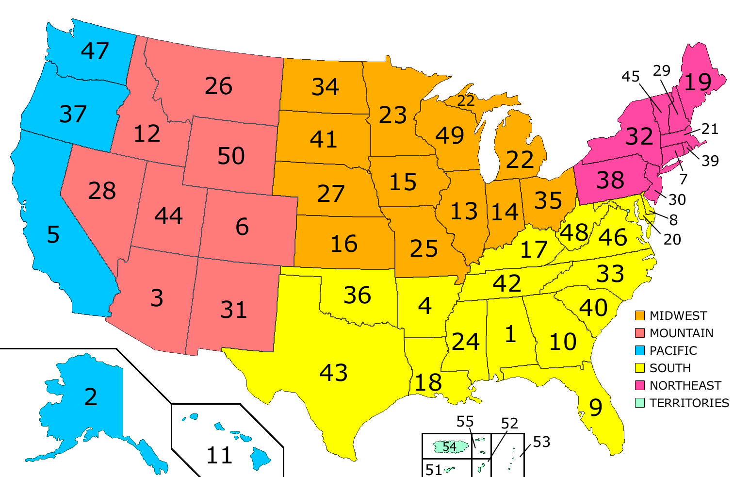 New Alphabetical Order Us States