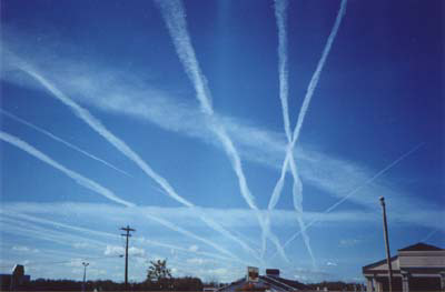 Water vapor contrails left by high-altitude je...
