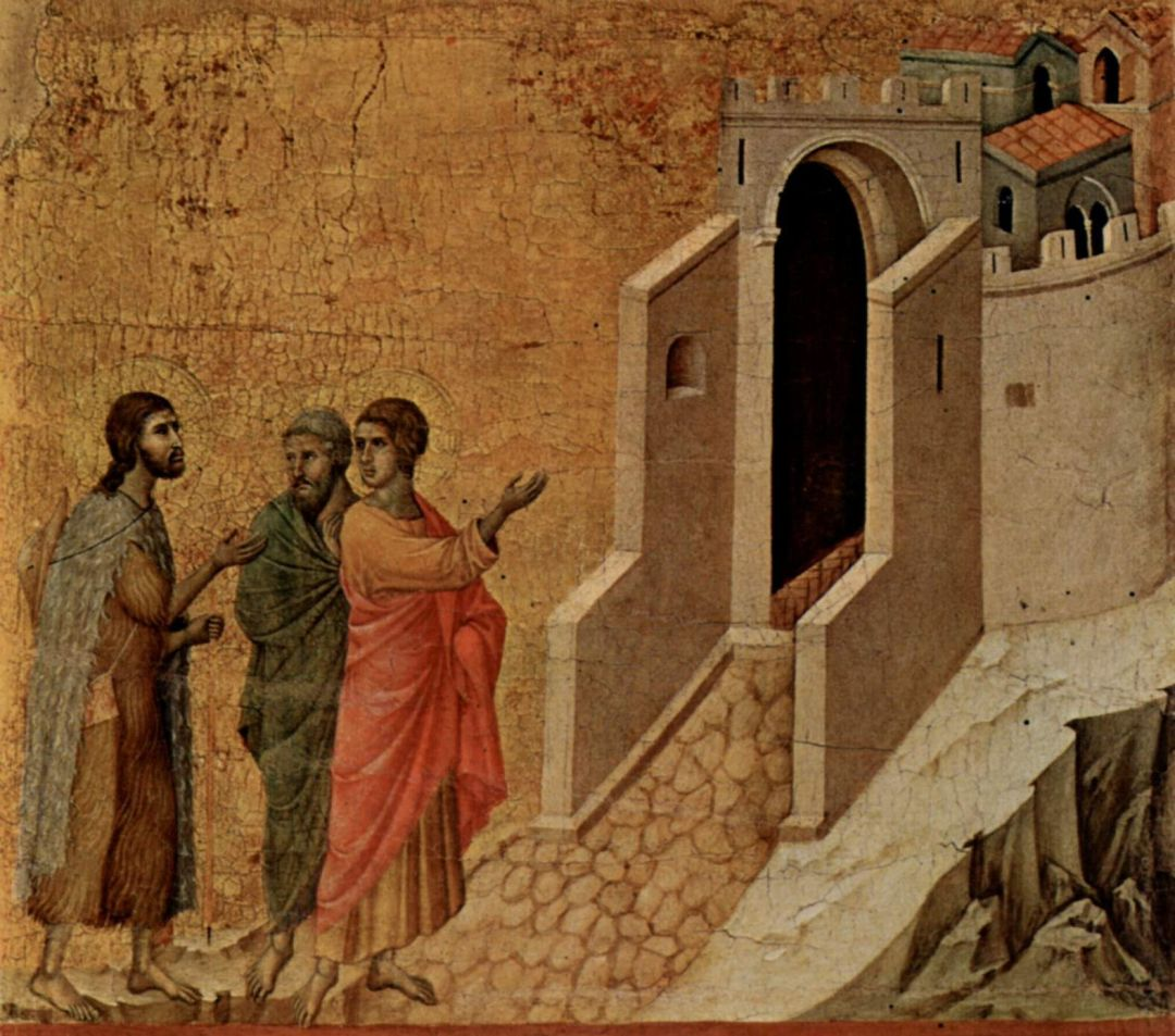 Jesus and the two disciples On the Road to Emmaus, by Duccio, 1308-1311, disillusionment