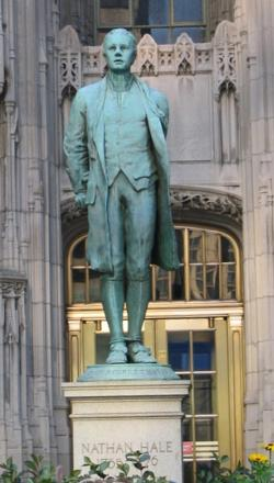 Figure from Nathan Hale statue outside the Chi...