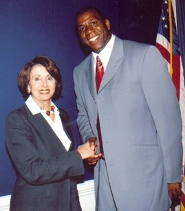 Former US House Speaker N. Pelosi and Magic in 2003 promoting HIV awareness (via Wikimedia)