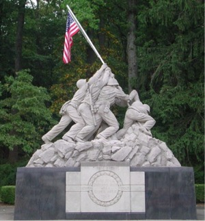 Marine Memorial at the front gate of MCB Quantico