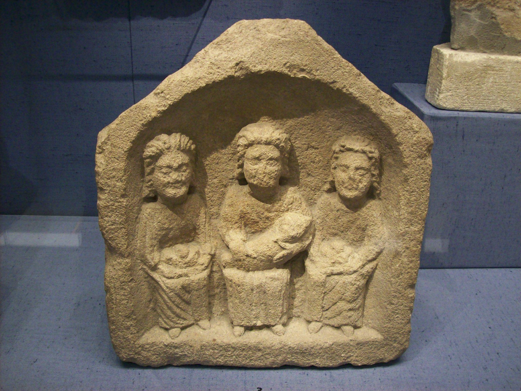 Three Goddesses, small Roman relief, Corinium Museum.jpg